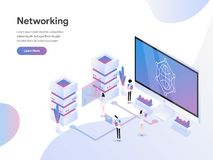 Landing page template of Data Networking Isometric Illustration Concept. Flat design concept of web page design for website and stock illustration