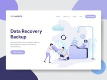 Landing page template of Data Recovery Backup Illustration Concept. Modern flat design concept of web page design for website and royalty free illustration