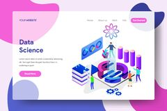 Landing page template of Data Science vector illustration