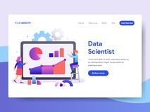 Landing page template of Data Scientist Concept. Modern flat design concept of web page design for website and mobile website.Vect. Or illustration stock illustration