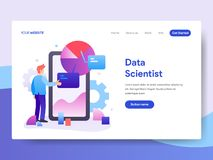 Landing page template of Data Scientist Concept. Modern flat design concept of web page design for website and mobile website.Vect. Or illustration vector illustration
