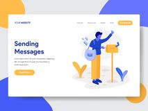 Landing page template of Deliveryman with Mailbox Illustration Concept. Modern flat design concept of web page design for website. And mobile website.Vector stock illustration