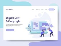 Landing page template of Digital Law and Copyright Illustration Concept. Isometric flat design concept of web page design for royalty free illustration