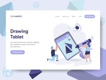 Landing page template of Drawing Tablet Illustration Concept. Isometric flat design concept of web page design for website and stock illustration
