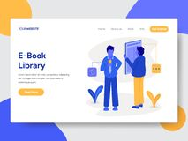 Landing page template of E-Book Library Illustration Concept. Modern flat design concept of web page design for website and mobile. Website.Vector illustration stock illustration