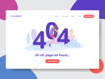 Landing page template of 404 Error. Modern flat design concept of web page design for website and mobile website.Vector stock illustration