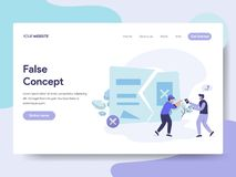 Landing page template of False Idea and Concept Illustration Concept. Isometric flat design concept of web page design for website royalty free illustration