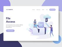 Landing page template of File Access Illustration Concept. Modern flat design concept of web page design for website and mobile. Website.Vector illustration stock illustration