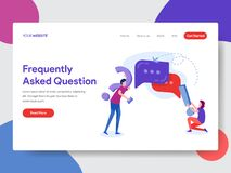 Landing page template of Frequently Asked Question Concept. Modern flat design concept of web page design for website and mobile stock illustration