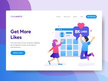 Landing page template of Get More Likes Concept. Modern flat design concept of web page design for website and mobile website.Vect vector illustration