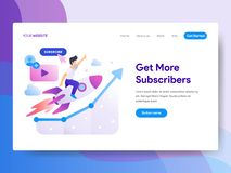 Landing page template of Get more Subscriber Concept. Modern flat design concept of web page design for website and mobile website royalty free illustration