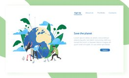 Landing page template with group of people of ecologists taking care of Earth and nature. Save The Planet. Environmental. Protection, use of eco friendly vector illustration