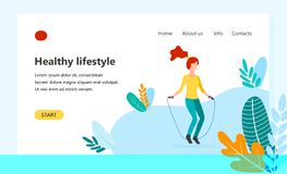 Landing page template of Healthy lifestyle vector illustration