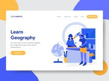 Landing page template of Learn Geography Illustration Concept. Modern flat design concept of web page design for website and vector illustration