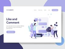Landing page template of Like and Comment Illustration Concept. Modern flat design concept of web page design for website and. Mobile website.Vector royalty free illustration