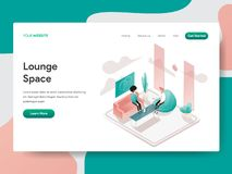 Landing page template of Lounge Space Illustration Concept. Isometric design concept of web page design for website and mobile royalty free illustration
