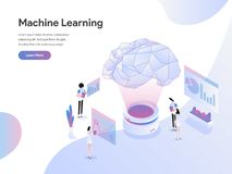 Landing page template of Machine Learning Illustration Concept. Flat design concept of web page design for website and mobile royalty free illustration