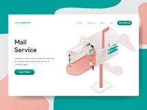 Landing page template of Mail Service Illustration Concept. Isometric design concept of web page design for website and mobile stock illustration