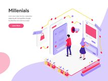 Landing page template of Millennials and Social Media Isometric Illustration Concept. Isometric flat design concept of web page stock illustration