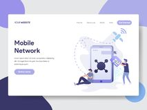 Landing page template of Mobile Network Illustration Concept. Modern flat design concept of web page design for website and mobile royalty free illustration