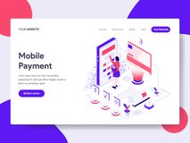 Landing page template of Mobile Payment Illustration Concept. Isometric flat design concept of web page design for website and royalty free illustration
