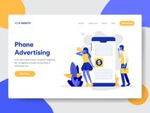 Landing page template of Mobile Phone Advertising Concept. Modern flat design concept of web page design for website and mobile. Website.Vector illustration royalty free illustration