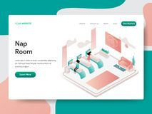 Landing page template of Nap Room Illustration Concept. Isometric design concept of web page design for website and mobile website vector illustration