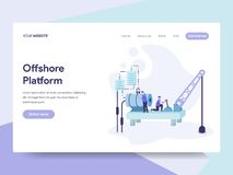 Landing page template of Offshore Platform Illustration Concept. Isometric flat design concept of web page design for website and stock illustration