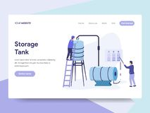 Landing page template of Oil Storage Tank Illustration Concept. Isometric flat design concept of web page design for website and vector illustration