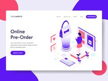 Landing page template of Online Pre Order Illustration Concept. Isometric flat design concept of web page design for website and stock illustration