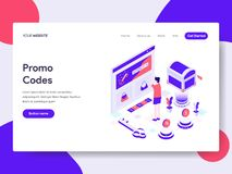 Landing page template of Online Promo Codes Illustration Concept. Isometric flat design concept of web page design for website and royalty free illustration