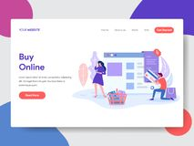 Landing page template of Online Shopping. Modern flat design concept of web page design for website and mobile website.Vector vector illustration