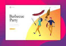 Landing page template people preparing barbecue. BBQ party. People grilling meat. Conceptual Modern and Trendy colorful. Vector illustration. Web template royalty free illustration