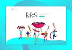 Landing page template people preparing barbecue. BBQ party. People grilling meat. Conceptual Modern and Trendy colorful. Vector illustration. Web template stock illustration