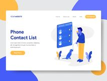 Landing page template of Phone Contact List Illustration Concept. Modern flat design concept of web page design for website and vector illustration
