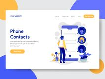 Landing page template of Phone Contacts Illustration Concept. Modern flat design concept of web page design for website and mobile. Website.Vector illustration royalty free illustration