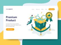 Landing page template of Premium Product Illustration Concept. Modern flat design concept of web page design for website and royalty free illustration