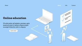 Landing page template. Programming course modern flat design isometric concept. Landing page template for online course royalty free stock photography