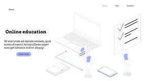 Landing page template. Programming course modern flat design isometric concept. Landing page template for online course royalty free stock photos