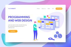 PROGRAMMING AND WEB DESIGN stock illustration