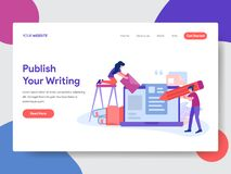 Landing page template of Read Online Articles Concept. Modern flat design concept of web page design for website and mobile vector illustration
