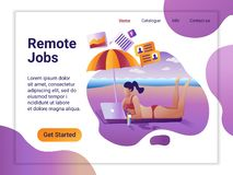 Landing page template of Remote worker. The Flat design concept of web page design for a mobile website. Young girl. Remotely working at laptop lying on the vector illustration