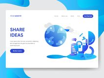 Landing page template of Share Ideas Illustration Concept. Modern flat design concept of web page design for website and mobile vector illustration