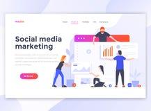 Flat Modern design of wesite template - Social media marketing. Landing page template of Social media marketing. Modern flat design concept of web page design vector illustration