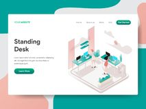 Landing page template of Standing Desk Illustration Concept. Isometric design concept of web page design for website and mobile. Website.Vector illustration stock illustration