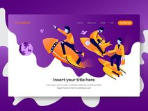 Landing page template of Startup Business Concept. Modern flat design concept of web page design for website and mobile website. royalty free illustration