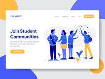 Landing page template of Student Community Illustration Concept. Modern flat design concept of web page design for website and royalty free illustration