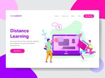 Landing page template of Student Distance Learning Concept. Modern flat design concept of web page design royalty free illustration