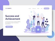 Landing page template of Success and Achievement Illustration Concept. Modern flat design concept of web page design for website stock illustration