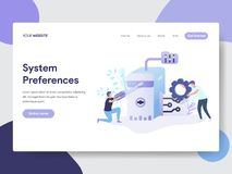 Landing page template of System Preferences Setting Illustration Concept. Modern flat design concept of web page design for vector illustration